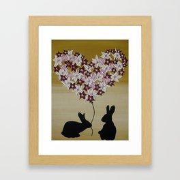 rabbits bunnies rabbit bunny love cute nursery art or romantic valentine valentines day Framed Art Print