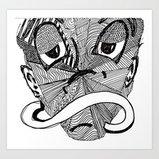 Mask #3: Mr. Time (B&W) Art Print
