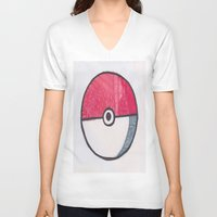 pokeball V-neck T-shirts featuring Pokeball Zentangle by Amanda Brooks