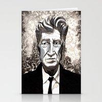david lynch Stationery Cards featuring David Lynch by Emma Ridgway