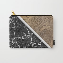 WOOD and Black MARBLE Carry-All Pouch