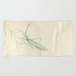 Minimal Art Praying Mantis And The Sun Beach Towel