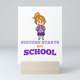 Success school girl schoolchild lessons Mini Art Print