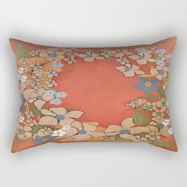 Ornamental Floral Wreath Rectangular Pillow
