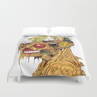 medieval Duvet Covers featuring Medieval Head by Theo Szczepanski