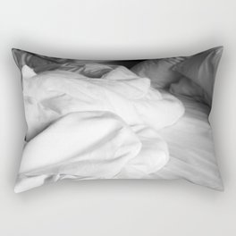 Empty bed in black and white Rectangular Pillow