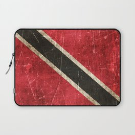 Vintage Aged and Scratched Trinidadian Flag Laptop Sleeve