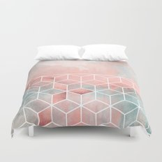 Rose Clouds And Cubes Duvet Cover