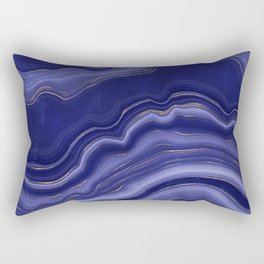 Blue Agate With Gold Luxury Marble Geode Texture Rectangular Pillow