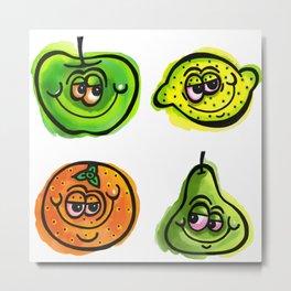 Happy Doodle Fruit Metal Print