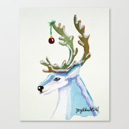 Frosty Reindeer Ice Blue with Red Ornament Canvas Print