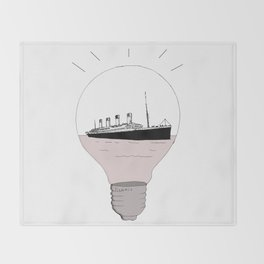 Ship in a light bulb . Throw Blanket