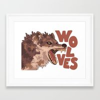 wolves Framed Art Prints featuring Wolves by Lindsey Lea