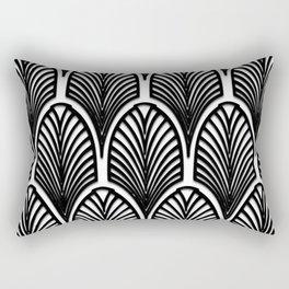 Art deco,Black and white pattern, vintage,nouveau,chic and elegant, belle époque,fan pattern Rectangular Pillow