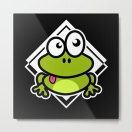 Funny Frog Frogs Toads Comic Metal Print