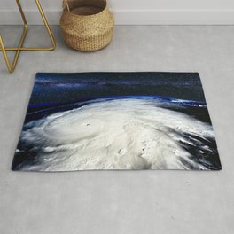 Satellite View of Hurricane and Milky Way Digital Photography by Jéanpaul Ferro Rug