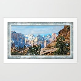 THE ORANGE AND BLUE OF ZION CANYON Art Print