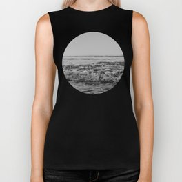 Black and White Pacific Ocean Waves Biker Tank