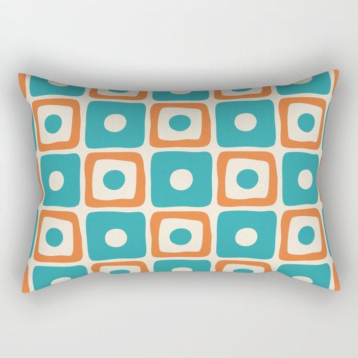 Mid Century Modern Square Dot Pattern 771 Turquoise and Orange Rectangular Pillow