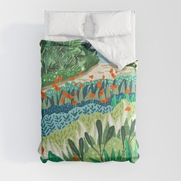 Solo Walk, Nature Jungle Forest Tropical Colorful Vibrant Bortanical Illustration Painting Comforters