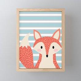 Cute fox illustration with stripes blue white and orange Framed Mini Art Print