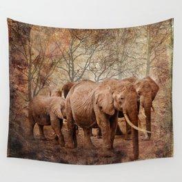 Elephants family on a walk Wall Tapestry