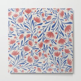 Americana Floral Print // Red, White & Blue Metal Print