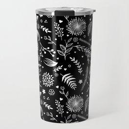 BLACK SPRING FLORAL DESIGN Travel Mug