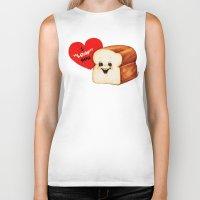 bread Biker Tanks featuring Valentine- Bread by Kelly Gilleran