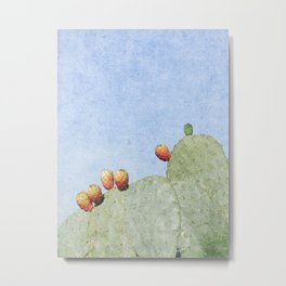 Prickly Pear Cactus with Fruits Metal Print