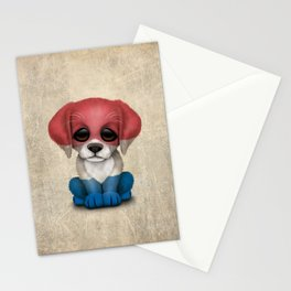 Cute Puppy Dog with flag of The Netherlands Stationery Cards