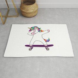 Dabbing Unicorn Skateboard Skating Skater Rainbow Skateboarding Rug