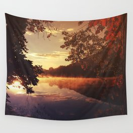 Early morningsun- Forest Sun Lake Trees Wall Tapestry