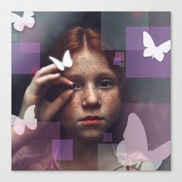 Little Girl in the Butterfly Garden Canvas Print