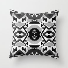 Geometric Aztec - black and white Throw Pillow