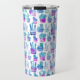 Modern hand painted pink teal watercolor cute cactus floral Travel Mug