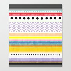 Striped black and white Abstract Circles Scallop Happy Polka Dots Canvas Print