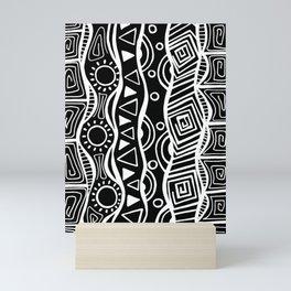 Four Waves - Freestyle Tribal Doodle Design - Black Mini Art Print