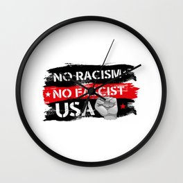 No Racism Wall Clock