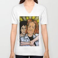mask V-neck T-shirts featuring Mask  by Portraits on the Periphery