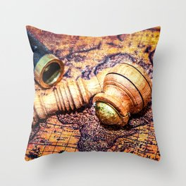 Vintage Wooden Pipe And A Looking Glass On An Old Map Throw Pillow