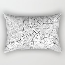Budapest Map White Rectangular Pillow