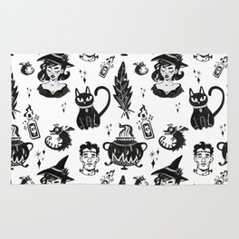Witches, Cauldron and Cats Pattern Rug