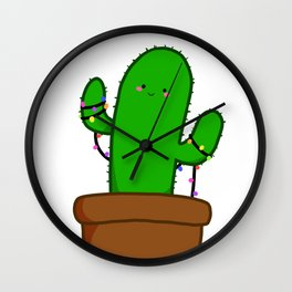 Christmas Cactus Illustration in a Pot with Christmas String Lights Wall Clock