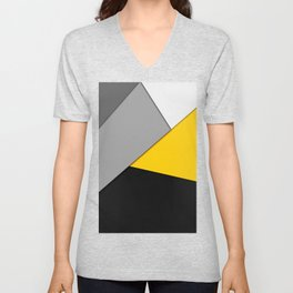 Simple Modern Gray Yellow and Black Geometric Unisex V-Neck