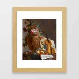 Still life with flowers and a violin, 1750 Framed Art Print