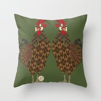 chicken Throw Pillows featuring Chicken by ArtLovePassion