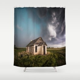 Pioneer - Abandoned Settlement Under Storm On Colorado Plains Shower Curtain