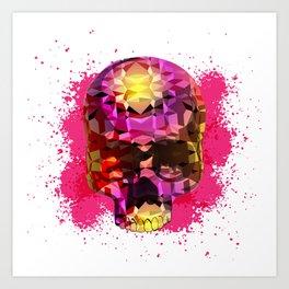 Skull with Crystal Polygon Art Print