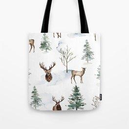 Winter Trees & Deer Pattern Tote Bag